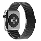 JETech Correa Reemplazable para Apple Watch 44 mm y 42 mm Series 1 2 3 4, Cerradura Magnética, Acero Inoxidable, Negro