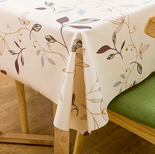 LeeVan Heavy Weight Vinyl square Table Cover Wipe Clean PVC Tablecloth Oil-proof/Waterproof Stain-resistant/Mildew-proof - 54 x 54 Inch (Autumn Leaves) - Thanksgiving Vinyl