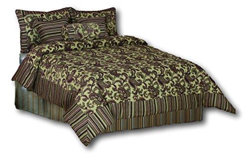 Tache 6 Pieces Luxurious Paisley Exotic Blooms Chenille Comforter Set, King