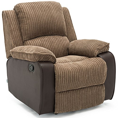 Lounge Recliner Armchair Brown Fabric TV Relaxing Chair ...