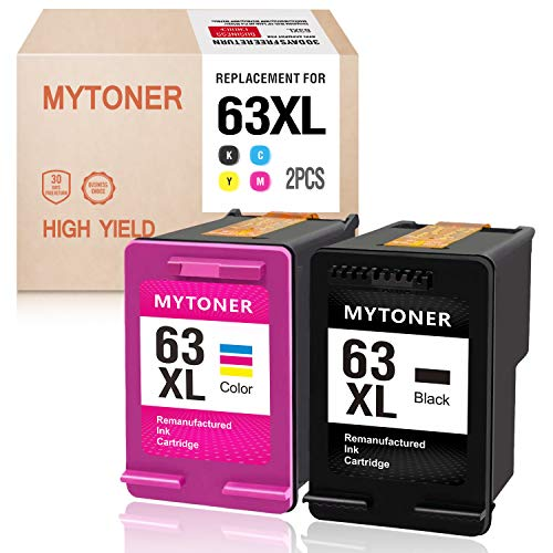 MyToner Remanufactured Ink Cartridge for HP 63XL 63 XL 63 Ink for Officejet 5255 5258 3830 4650 3833 4655 Envy 4520 4512 4516 Deskjet 1112 2130 2131 3630 3633 3634 Printer (Black, Tri-Color) (Series 4650 Toner Cyan)