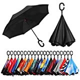 BAGAIL Double Layer Inverted Umbrellas Reverse Folding Umbrella Windproof UV Protection Big Straight Umbrella for Car Rain Outdoor with...