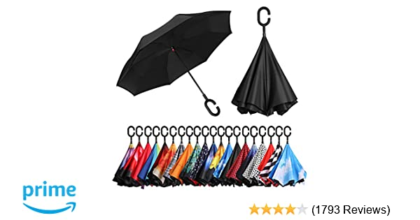 0e0ff28a721cc BAGAIL Double Layer Inverted Umbrellas Reverse Folding Umbrella Windproof  UV Protection Big Straight Umbrella for Car Rain Outdoor with C-Shaped  Handle