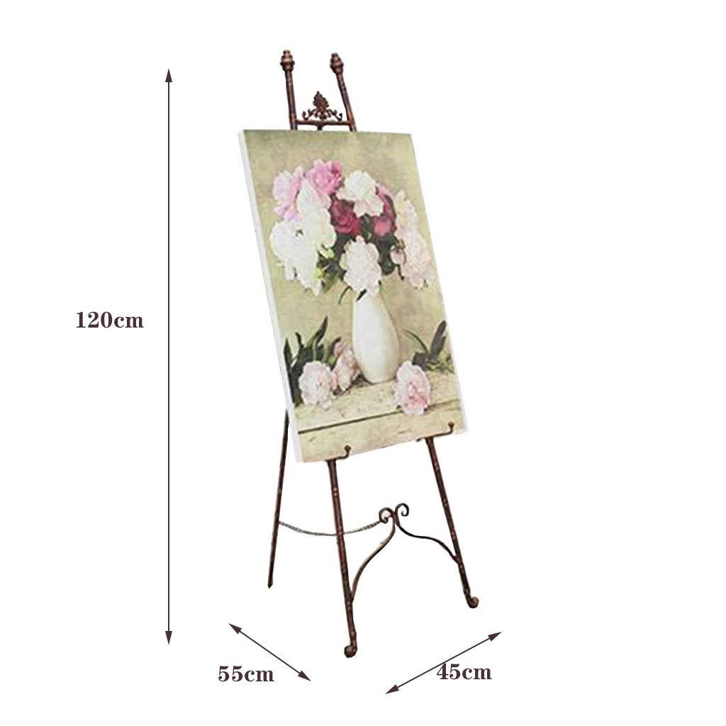 Color : Gold, Size : 45 * 55 * 120cm Zhou-frame Cavalletto da Matrimonio Stand fieristico Espositore pubblicitario da Poster Cavalletto da Esterno Cavalletto da Giardino in Ferro battuto