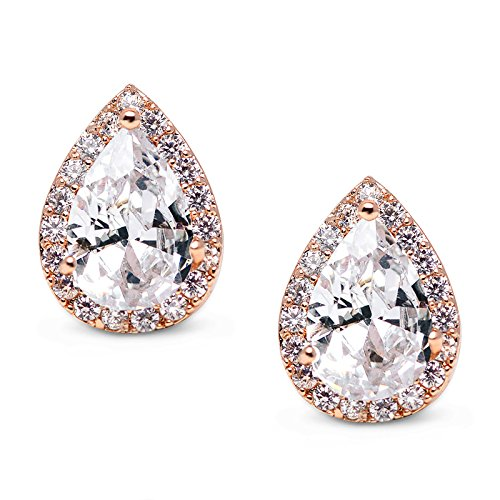 SWEETV Teardrop Bridal Earrings for Wedding, Prom - Elegant Cubic Zirconia Stud Earrings for women, brides, bridesmaids