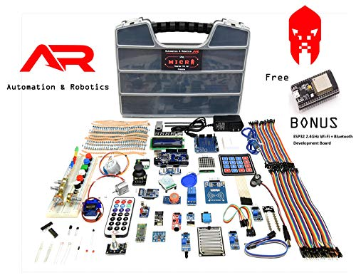 A&R Uno Micro Starter Kit for Arduino, Complete Set with 18 Sensor Modules, Bluetooth, WiFi for Learning Electronics STEM Robotics Projects