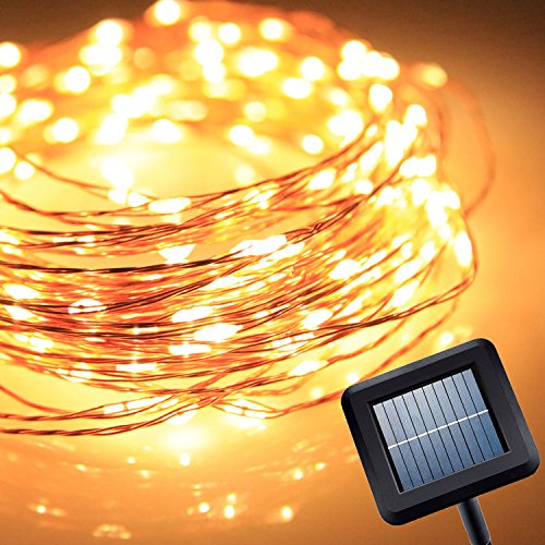 Homestarry 8 Modes Solar String Lights 120 LEDs / 40 Ft Solar Powered Starry String Lights, Indoor/Outdoor Copper...