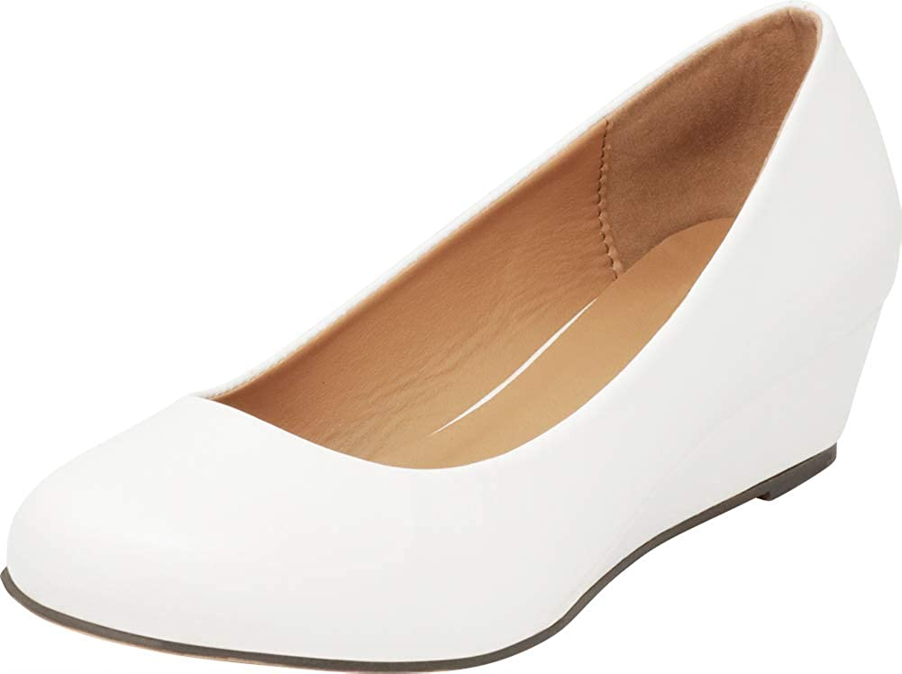 Cambridge Select Womens Closed Round Toe Slip-On Low Wrapped Comfort Wedge