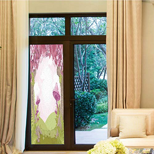 YOLIYANA Decorative Window Film,Mushroom Decor,for Bedroom Living Room Kitchen,Cherry Blossom Trees in Fairytale Land Forest Surreal,24''x70''