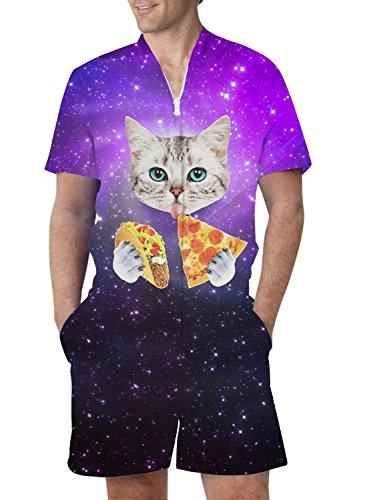 RAISEVERN Mens Funny Space Pizza Cat Print Zip Up Jumpsuit Short Cargo Pants Rompers Slim Fit Party Overalls Boyfriend Shorts Pizza Cat X-Large