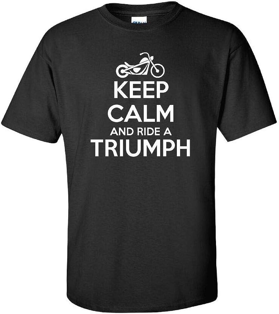 Keep Calm Ride Triumph Funny Mens t Shirt Motocycle Bike Moto