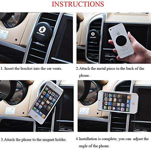with 2 Metal Plates SUHANG 4351513257 Magnetic Car Phone Mount,Universal Air Vent Magnetic Car Mounts Phone Holder Car Mounts Holder for Cell Phones and Mini Tablets