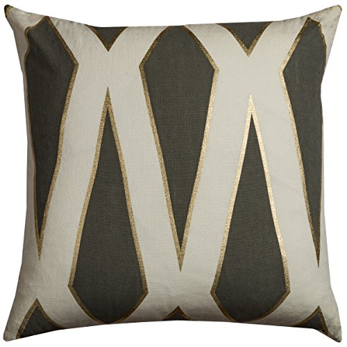 Rizzy Home Decorative Poly Filled Throw Pillow, 20 x 20 , Gray Ivory