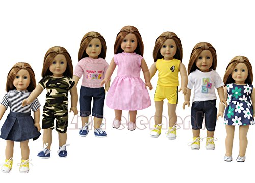 Red Orange Is The New Black Costume - 7PCS Daily Casual Clothes/ Outfits fit for American Girl Doll and other 18 inch DOLL XMAS GIFT