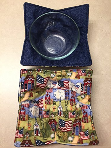Microwave Cereal Bowl Cozy,LAND of the FREE,handmade,Hot Cold Bowl Cozie,Cotton Fabric Trivet,Hot pad,Pot Holder,Reversible,washable,ready to ship