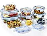 Glass Food Storage Containers with Lids (10-Piece Set) | BPA-Free | Airtight, Waterproof, Fully Insulated, Reusable & Leakproof Protection | Microwave, Oven, Freezer, Dishwasher Friendly