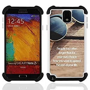 /Skull Market/ - The rest of you Life For Samsung Galaxy Note3 N9000 N9008V N9009 - 3in1 h????brido prueba de choques de impacto resistente goma Combo pesada cubierta de la caja protec -