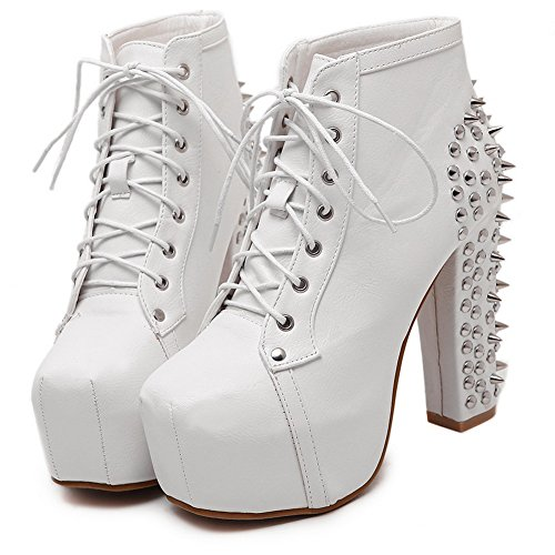White Retro AdeeSu Round High Toe Ankle Urethane Womens Boots 6SwB7q8
