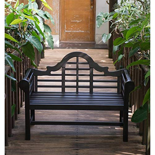 Elegant ans Stylish Beautiful Four Feet Outdoor Exceptional Bench, Rich Dark Brown Finish, Holds Two People Up to 450 LB, Durable Wood Slats Construction, Graceful Rolled Arms and Sophisticated - Lutyens Garden Furniture