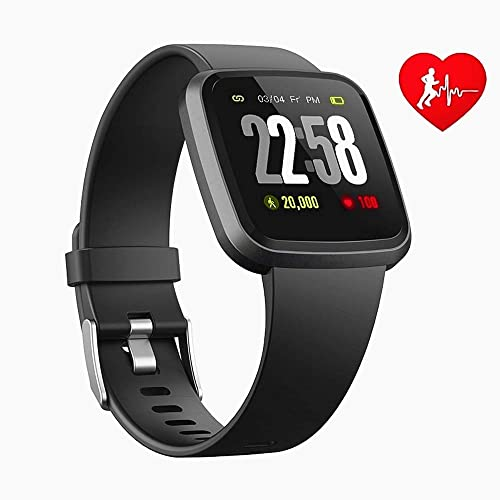 H4 Fitness Health 2in1 Smart Watch for Men Women Smartwatch with All-Day Heart Rate Blood Pressure Sleep Monitor IP67 Waterproof Sports Activitity Tracker Bluetooth Watch BLK