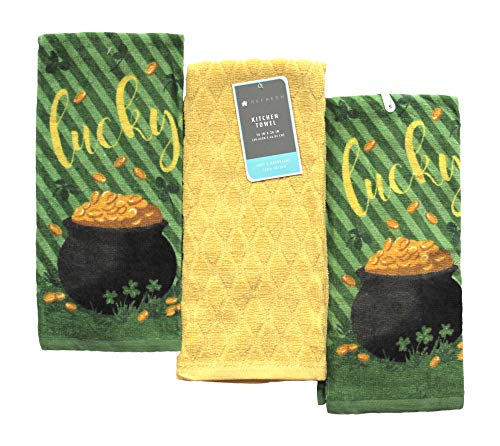 St. Patrick's Day Kitchen Towels: Decorative Soft Velour Cotton Set (Irish -