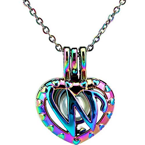 Werrox Rainbow Color 26 Letter Alphabet Pearl Beads Cage Locket Pendant Necklace Charms | Model NCKLCS - 25106 |