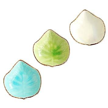 Esperar Fly Lovely UVA hojas con forma de cerámica condimento platos/para bolsas de té