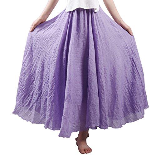 Couleur Lin Violet Taille 95cm Elégante Femme Aivtalk Jupe Pure En Longue 85 classique qxF8BxAIw7