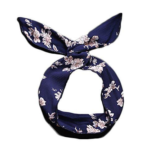 dolly2u 2 Pieces Headbands Ladies Girls White Flowers on Blue Hair Wear for Summer