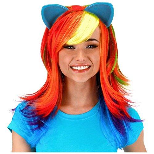 My Little Pony Rainbow Dash Costume Wig with Ears by (Rainbow Bright Fancy Dress)