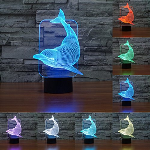 FIDDY898 Animal 3D Illusion Night Light 7 Colors Changing Christmas Gifts Acrylic Flats Sensor Dolphin