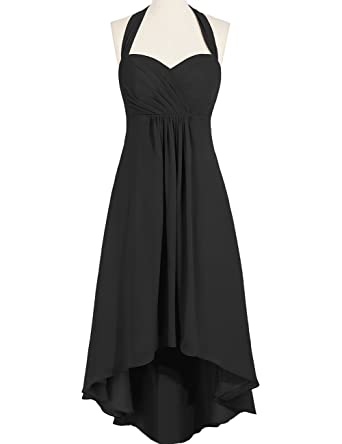 Duraplast Womens Prom Dress High Low Evening Gown Halter US2 Black