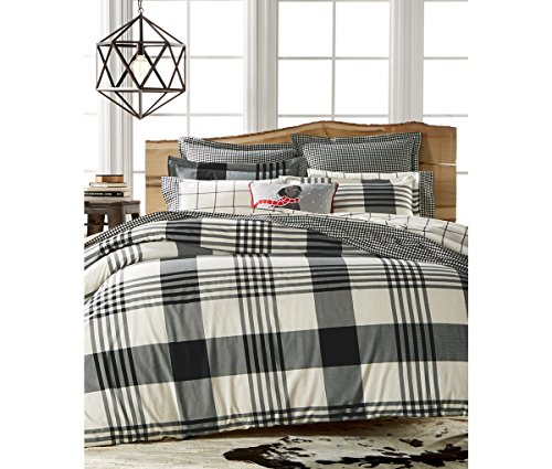 Cotton Flannel Duvet or Comforter Cover Full/Queen Montana Onyx Plaid (Stewart Plaid Cover)
