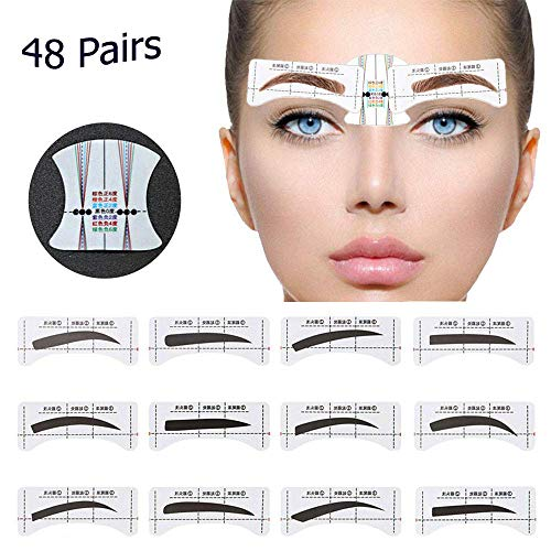 48 Pairs Eyebrow Stencil, PLBAG Eyebrow Shape Stickers Shaping Template Eyebrows Grooming Stencil Kit with 10 Reusable Connection Cards (Best Eyebrow Shape For Small Eyes)