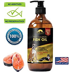 Wild Alaskan Salmon Fish Oil Pet Food supplement, 100% pure Natural Omega 3 Support for Dry Skin, Allergies, Heart & Immune Health. Fatty Acids for skin, coat & Joint Health in Dogs, Cats-16oz