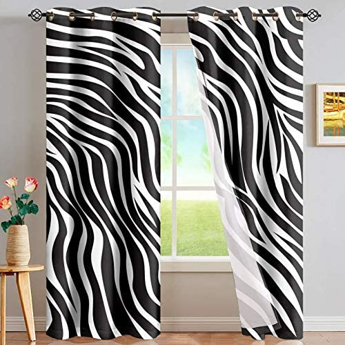 CLOHOMIN Black Zebra Stripe Print Grommet Privacy Curtain Washable 2pcs Window Treatment Panels Drape