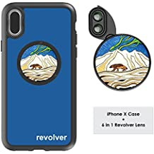 Ztylus Designer Revolver M Series Camera Kit: 6 in 1 Lens with Case for iPhone X - 2x Telephoto Lens, Macro, Super Macro Lens, Wide Angle Lens (Wolverine Blue)