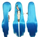 "39"" Long Straight Costume Play Party Wig (Model: Jf010072),Blue"