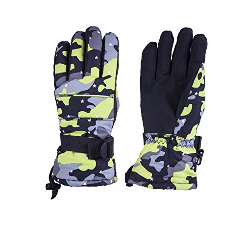 Joyutoy Waterproof Warm Skiing Gloves Windproof Non-slip Wear-resisting Winter Gloves Cold-proof Comfortable for Motorcycle Cycling Biking and Mountaineering for Men and Women (Yellow Camo, L)