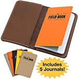 Handcrafted Stitched Leather Journal Notebook Cover with Inside Pocket: Includes 5 Bonus Refillable Field Note Book Journals/Compatible with Field Notes and Moleskine Cahier Notebook (3.5'x5.5')