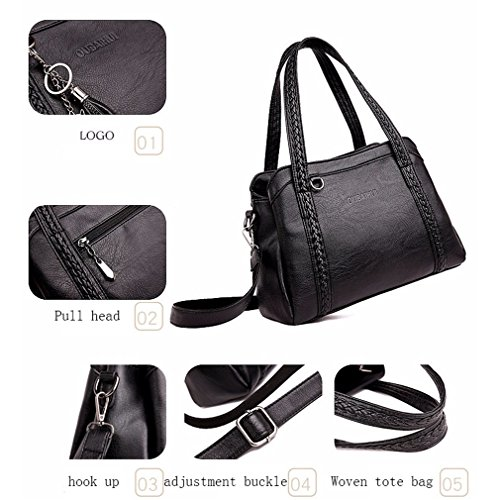 Amazon.com : YANXH Womens Handbag Fashion Soft Surface Faux Leather Multifunction Large Capacity Shoulder Bag For Lady Office, Shopping, Black : Sports & ...
