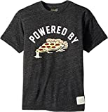 The Original Retro Brand Kids Boy's Powered by Pizza Short Sleeve Tri-Blend T-Shirt (Big Kids) Streaky Black X-Large