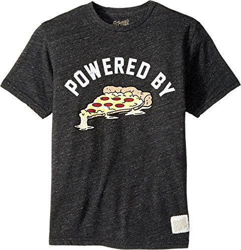 The Original Retro Brand Kids Boy's Powered by Pizza Short Sleeve Tri-Blend T-Shirt (Big Kids) Streaky Black X-Large by The Original Retro Brand Kids