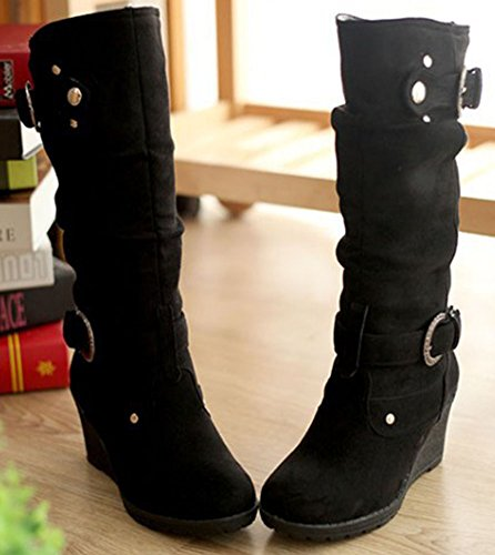 Calf Warm Toe Pull Suede Booties Faux Easemax Black Heel On Wedge Mid Women's Mid Round w1nT1C7Sq5