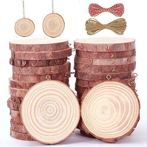 New Awolf Natural Wood Slices 30 Pcs 2.4-2.8 inches Wooden Circles Christmas Ornaments Craft Unfinished Wood package for Arts DIY Crafts Wood Rounds with Small Eye Screws