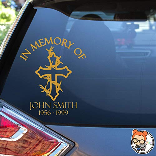 In Memory Cross with Barbed Wire Vinyl Die Cut Decal Sticker for Car Laptop etc.