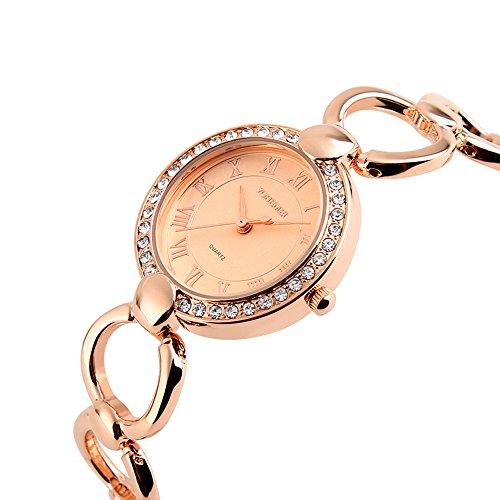 Women's Fashion Oval Dial Rhinestone Watches Waterproof Lady Gold Alloy Strap Japan Quartz Bracelet Watch