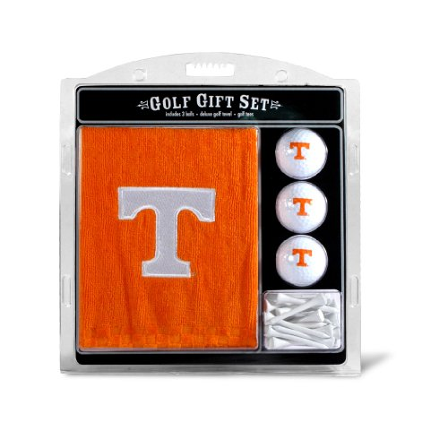 Team Golf NCAA Tennessee Volunteers Gift Set Embroidered Golf Towel, 3 Golf Balls, and 14 Golf Tees 2-3/4 Regulation, Tri-Fold Towel 16 x 22 & 100% Cotton