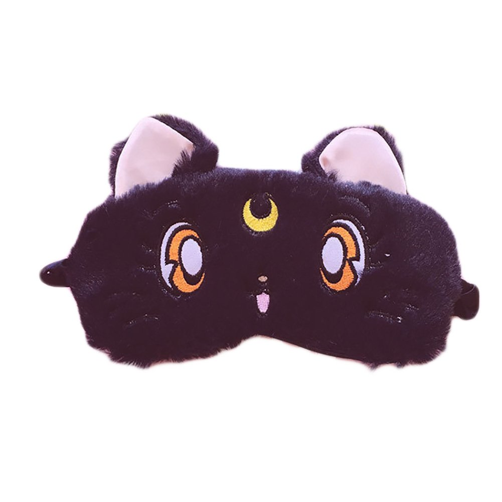 Fluffy Cat Face Sleep Eye Mask Moon Decor Eye Shade Blindfold for Home Travel Rest by Funbase (Image #1)