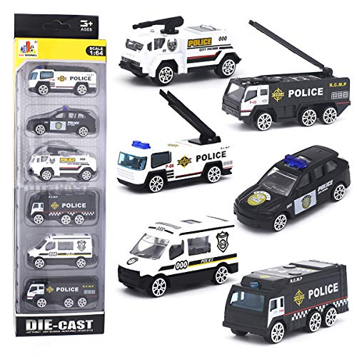 DESONG Alloy Police Cars Set Mini Pocket Size Models Play Vehicles Toy for Kids Boys Party Favors Cake Decorations Topper Birthday Gift,6Pcs Set (Police Birthday Cake Topper)